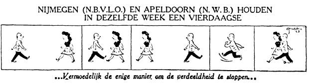 Cartoon Vierdaagse Telegraaf 6-1-1953